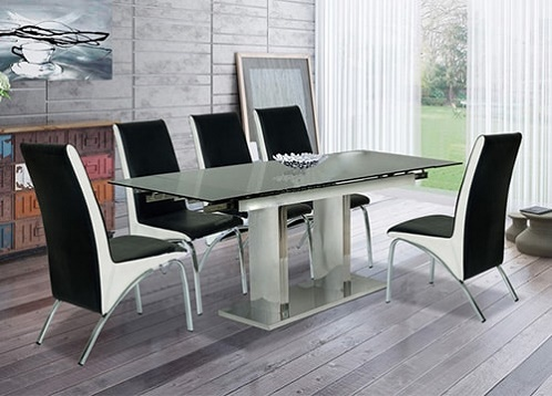 Bộ bàn ăn mặt kính B56