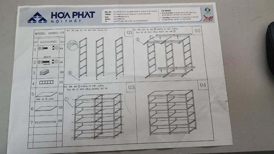 các bước thực hiện lắp đặt giá sắt sách hòa phát gs2k2