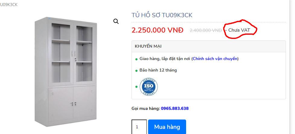 giá chưa vat tủ hồ sơ tu09k3 ck trên web