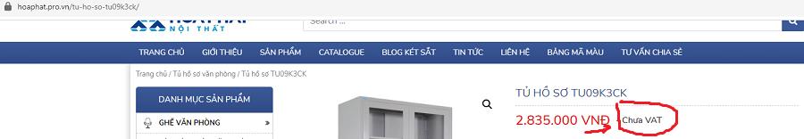 giá tủ hồ sơ tu09k3 trên website là chưa vat