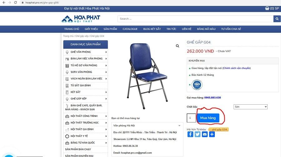 nút mua hàng ghế g04 tại hoaphat.pro.vn