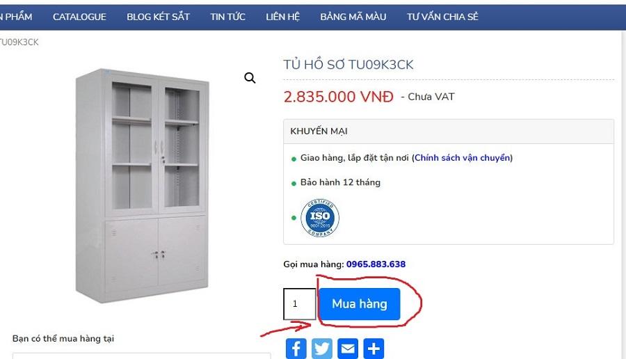 nút mua hàng tủ hồ sơ 09k3 trên website hoaphat.pro.vn