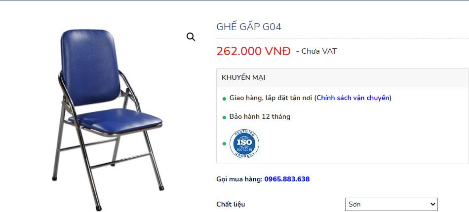 trên web ghế g04 sơn có ghi giá chưa vat bên cạnh là 262.000 Đ