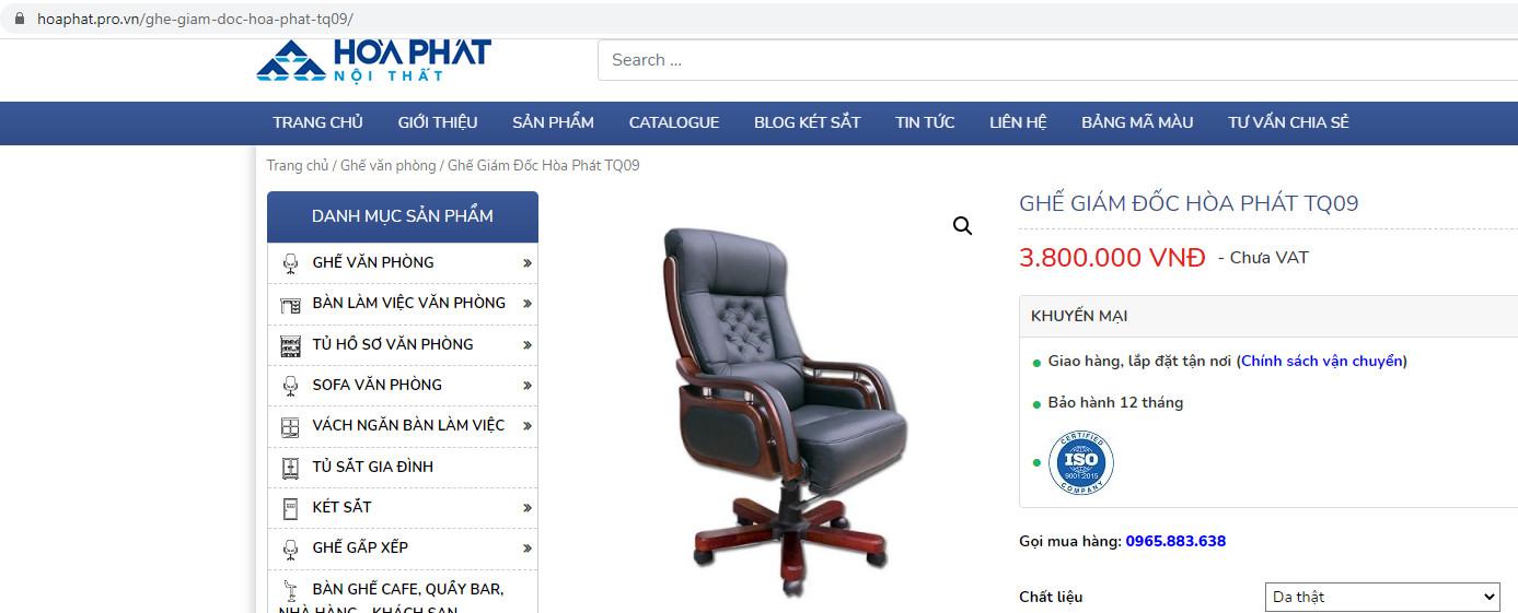trên website giá ghế tq09 là chưa vat