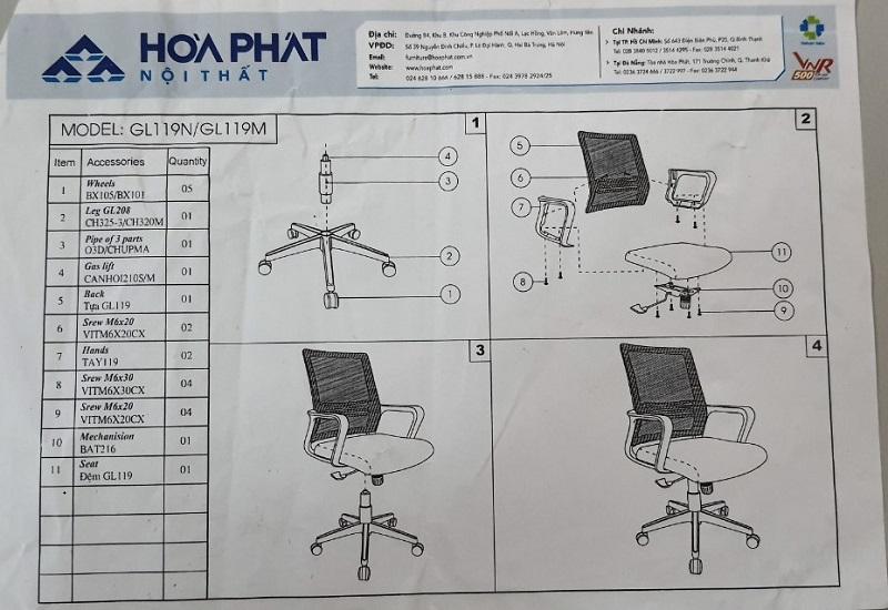 hình ảnh hướng dẫn lắp đặt ghế lưới gl119