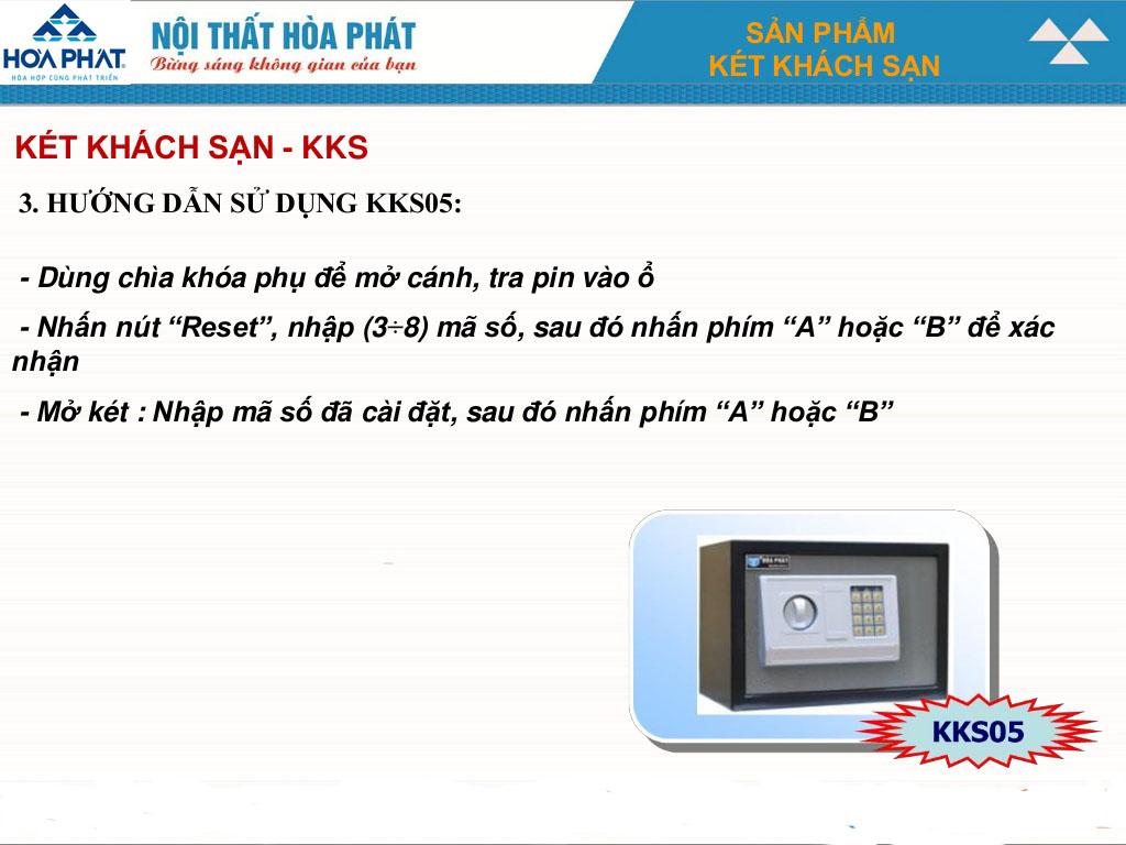 hướng dẫn sử dụng két sắt khách sạn kks05