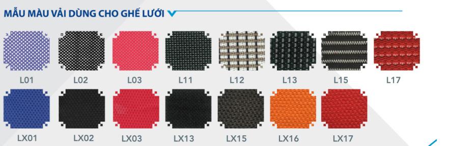 mẫu màu vải dùng cho ghế lưới
