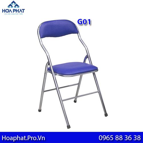 ghế gấp văn phòng hòa phát g01 chân inox màu xanh