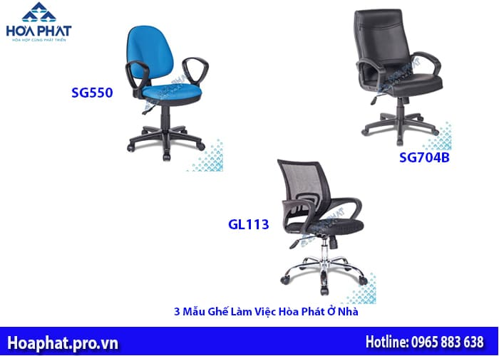 3 mẫu ghế làm việc ở nhà Hoà Phát