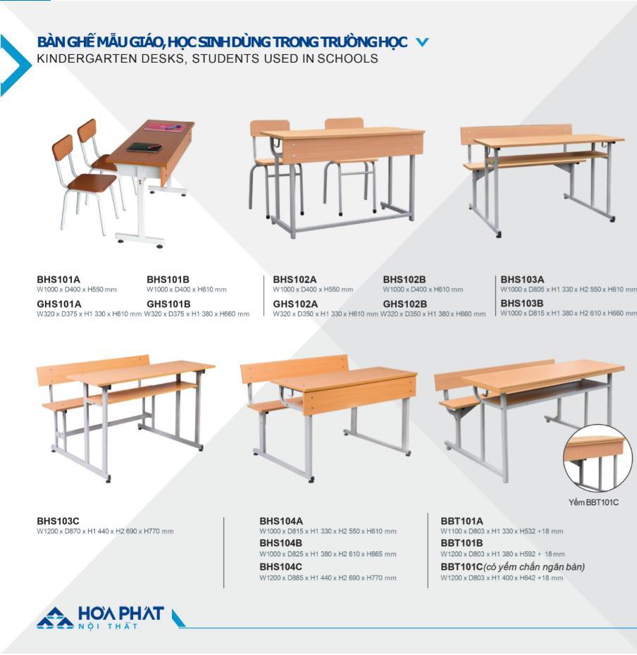ảnh bàn ghế học sinh hòa phát cấp 1 2 dùng tong trường học