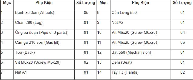 danh sách phụ kiện ghế hòa phát sg550