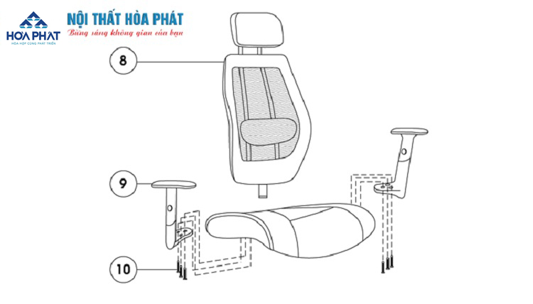 hướng dẫn lấp đặt ghế lưới gl309-3