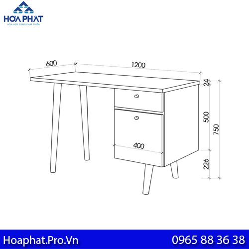 kích thước tiêu chuẩn chiều cao bàn làm việc hòa phát là 750 mmm