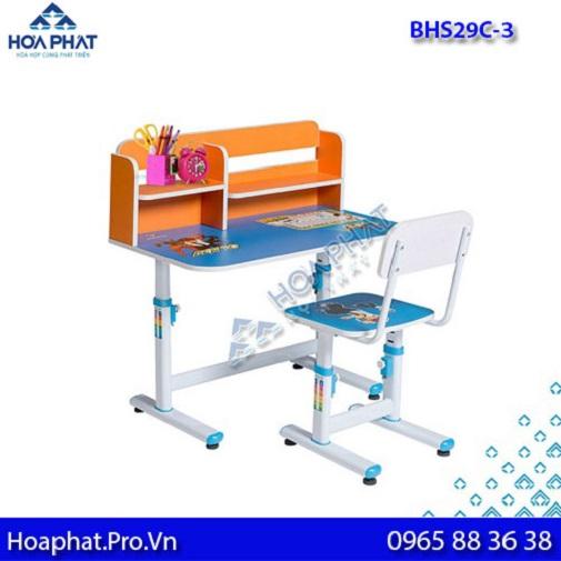mẫu bàn học sinh hòa phát có giá sách bhs29c-3 màu xanh cho các bé trai