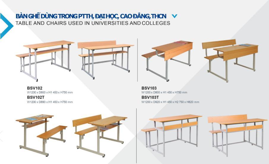 một số mẫu bàn ghế học sinh dùng trong ptth đại học cao đẳng