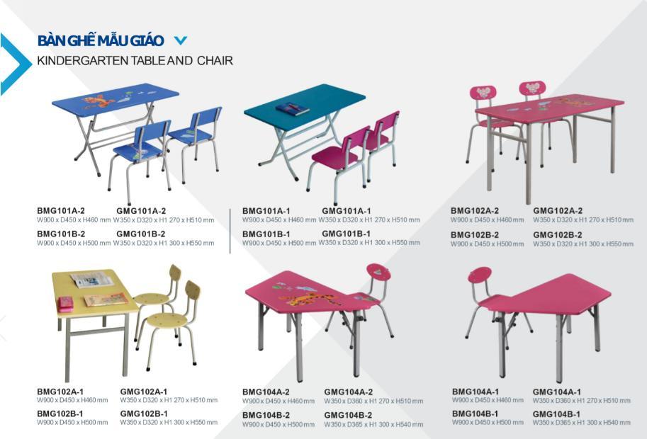 một số mẫu bàn ghế học sinh mẫu giáo hòa phát