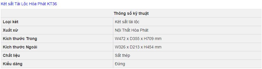 thông số kỹ thuật két sắt hòa phát kt36