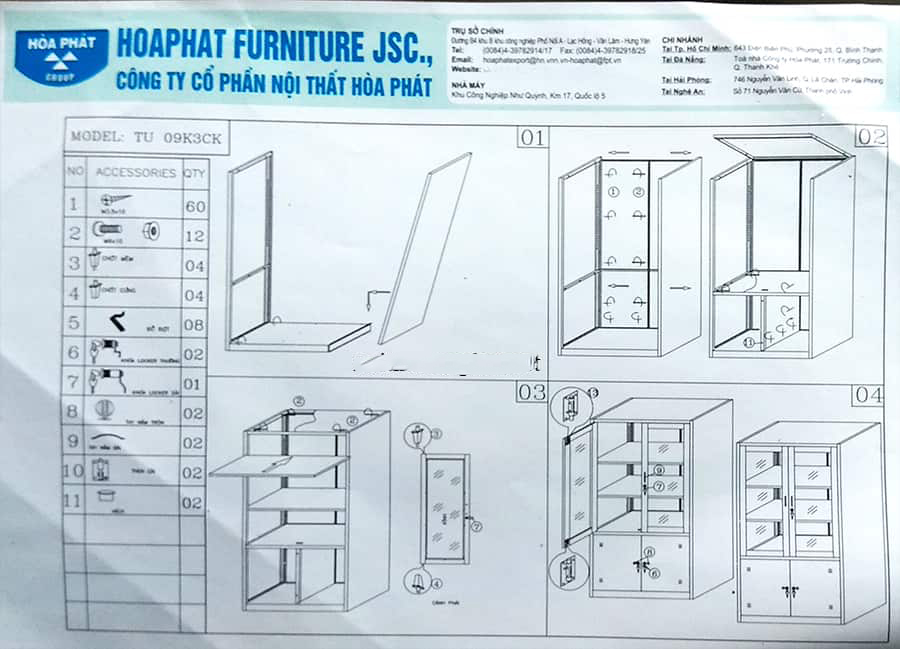 hướng dẫn lắp đặt tủ sắt hòa phát tu09k3ck