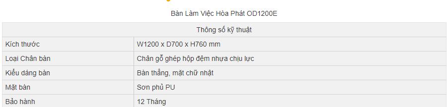 thông số kỹ thuật bàn hòa phát od1200e