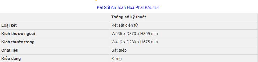 thông số kỹ thuật két sắt hòa phát ka54 điện tử
