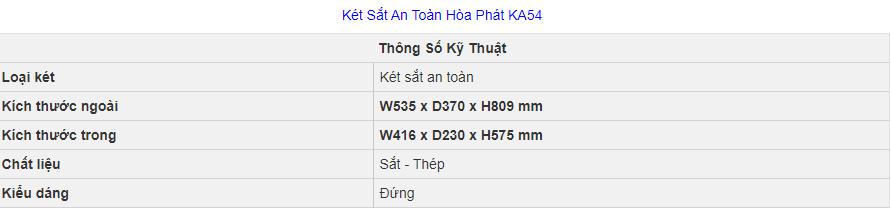 thông số kỹ thuật két sắt hòa phát ka54