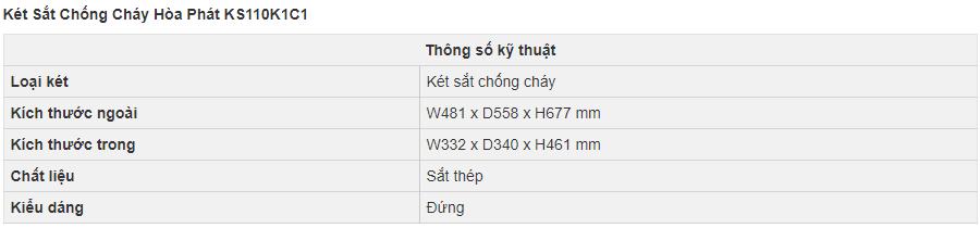 thông số kỹ thuật két sắt hòa phát ks110k1c1