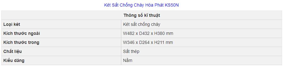thông số kỹ thuật két sắt hòa phát ks50n