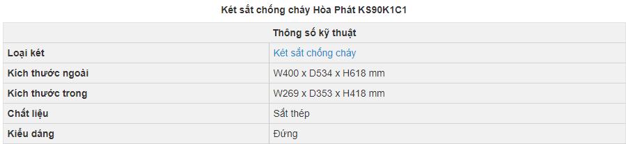 thông số kỹ thuật két sắt hòa phát ks90k1c1