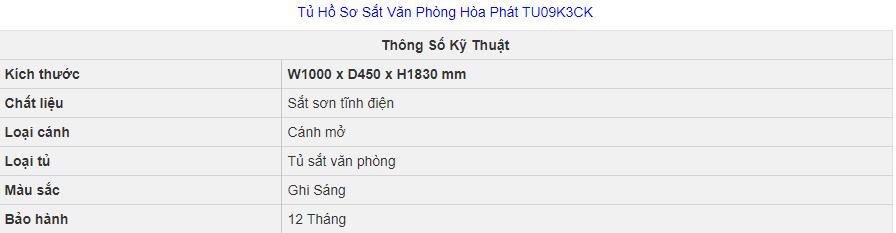 thông số kỹ thuật tủ hồ sơ hòa phát tu09k3ck