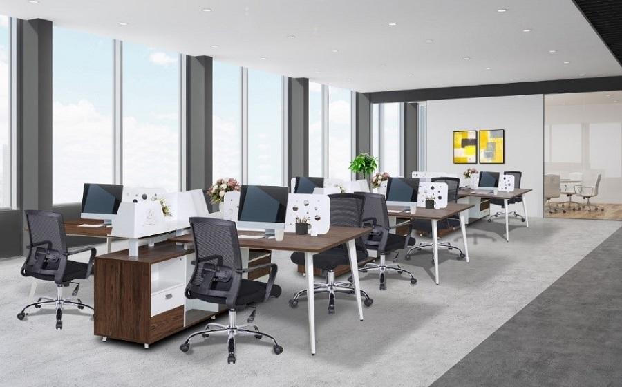 phối cảnh văn phòng tại vietbuild 2020 nội thất hòa phát