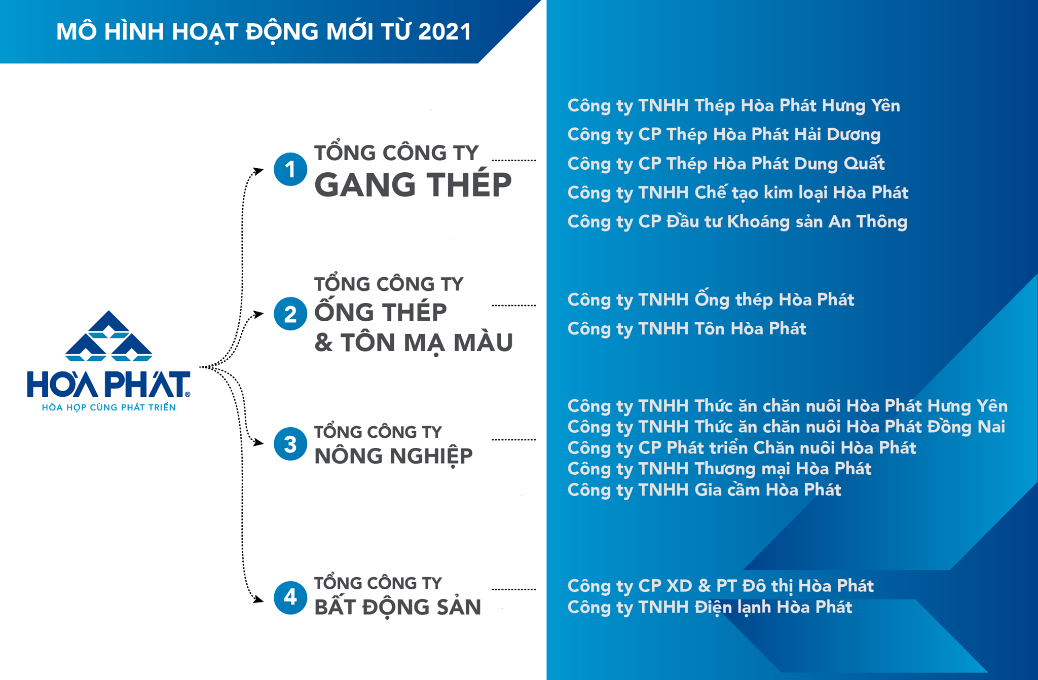 mô hình tổ chức mới của tập đoàn hòa phát từ năm 2021