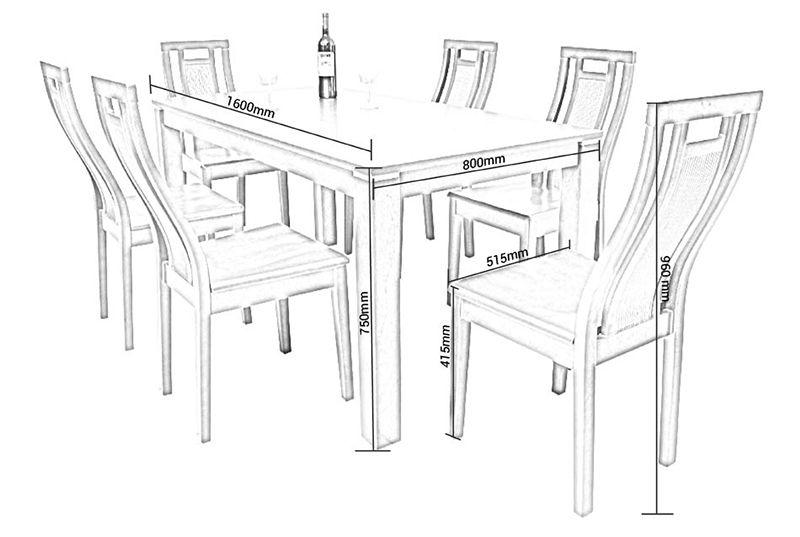 kích thước bàn ghế ăn tiêu chuẩn chiều cao bàn 750 mm ghế cao 96mm