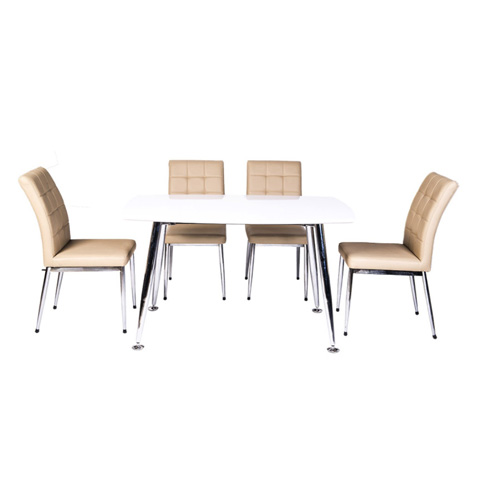 Bộ bàn ghế ăn B68 trắng, G68